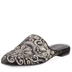 Stuart Weitzman Pipe Mulearky, Embroidered Mule